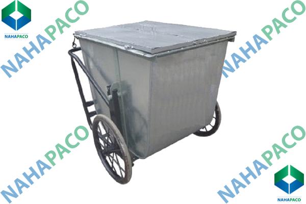Xe gom rác 400L (Có nắp)